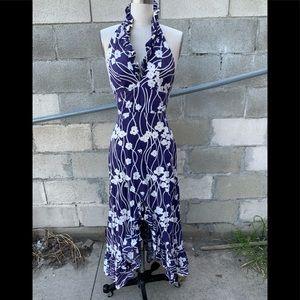 Vintage 70's retro print maxi dress navy/white sm